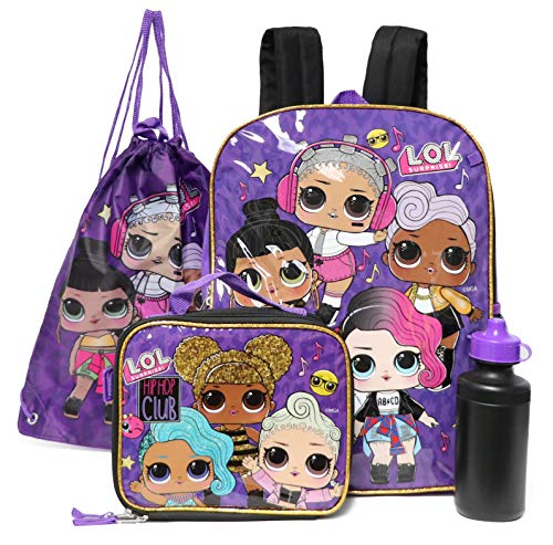 LOL Surprise Multi - Piece Backpack Lunch Box Set (HipHop Club)