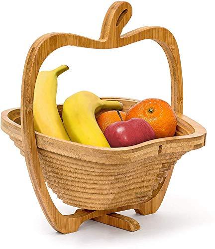 BWM Apfelförmige zusammenklappbare Faltbare Obst- und Eierkörbe Holzschale