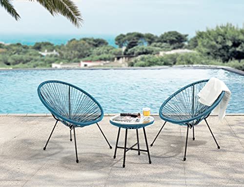 EVRE Goa Acapulco Styled Garden Furniture Set Bistro Patio Indoor Outdoor For Balcony, Garden, Terrace, 2 Chairs And 1 Table (Teal)