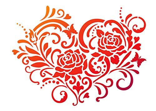 Pochoir « Coeur de roses », format A4