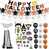 Halloween Decorazioni Horror,Halloween Palloncini Lattice,Banner Di Zucca,Ragno,Halloween Ragnatela E Tovaglia,Puntelli Per Foto Di Halloween 21PCS,Halloween Decorazioni Tavola Per Esterno,Giardino