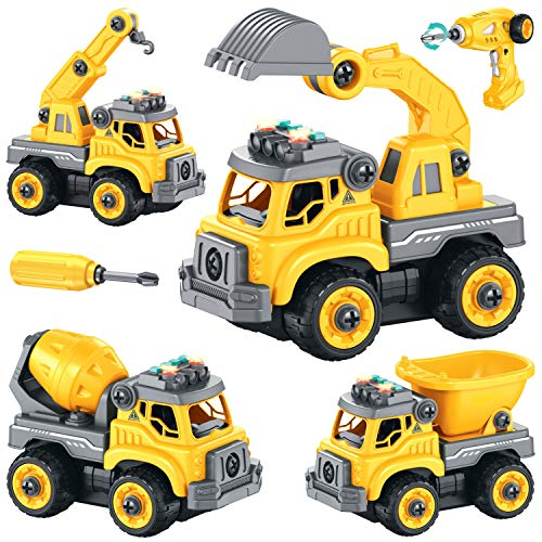 Take Apart Toys with Electric Drill RC| Construction Trucks Set 4 in 1 with 360° Remote Control, Sounds & Lights, Rechargeable Battery, 36Pcs DIY STEM Toys for 4 5 6 7 Year Old Boys or Girls