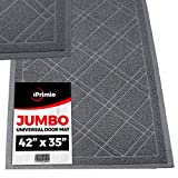 SlipToGrip Universal Gray Door Mat with DuraLoop - Jumbo 42'x35' Outdoor Indoor Entrance Doormat - Waterproof - Low Profile Door Mat - Welcome - Front Door, Garage, Patio