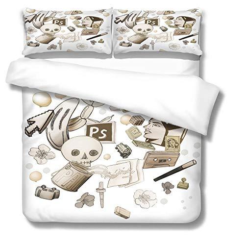 Funda De Edredón para Esqueleto 2 Funda De Almohada con Impresión 3D Funda De Edredón para Niños Y Adolescentes Edredón Negra con Cierre De Cremallera 220*240Cm