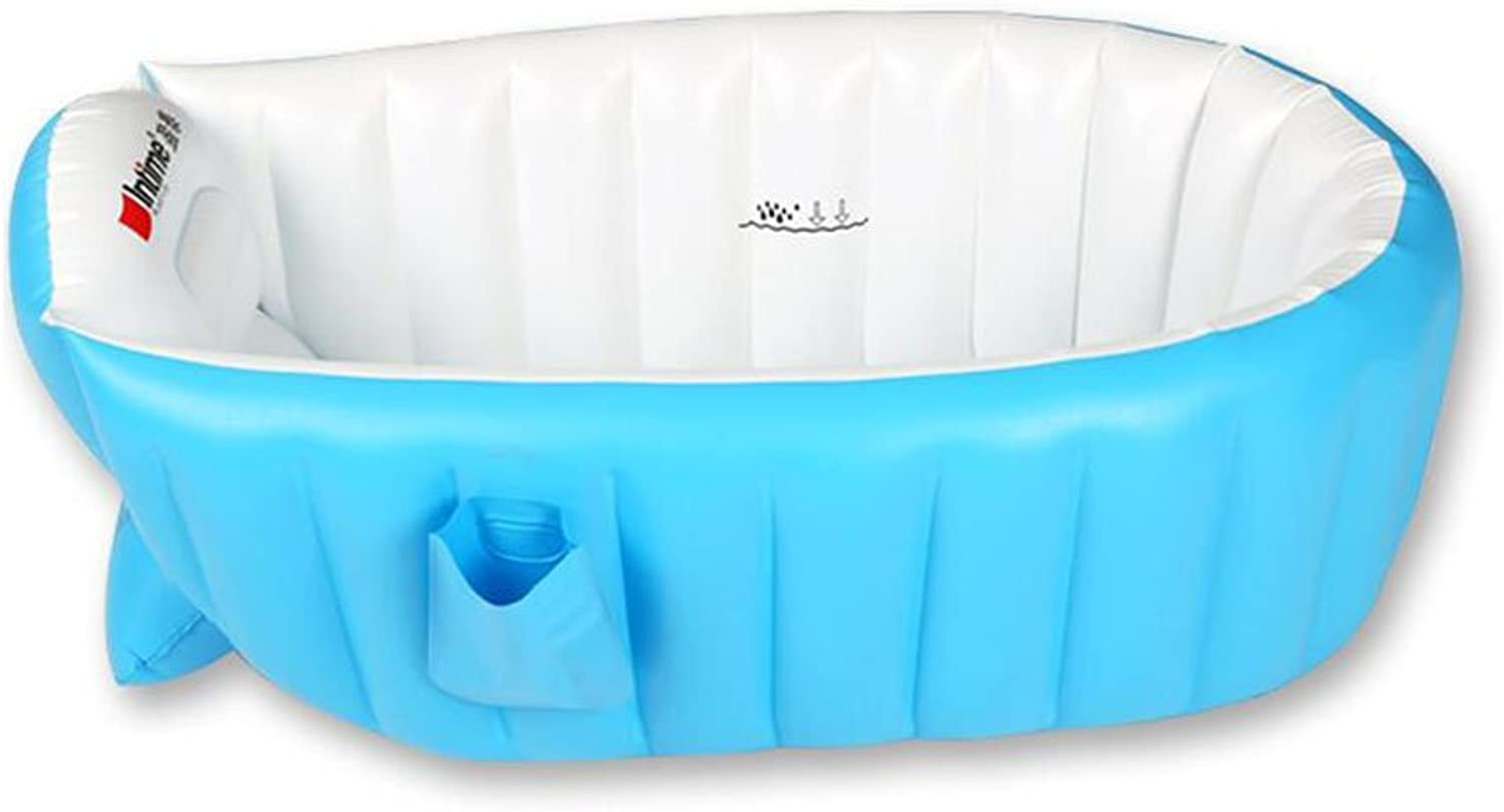 LEI ZE JUN UK- Inflatable Baby Bath Tub Kid Infant Toddler Thick Foldable Bath Tub with Soft Cushion Central Seat Air Baths ( color   bluee )