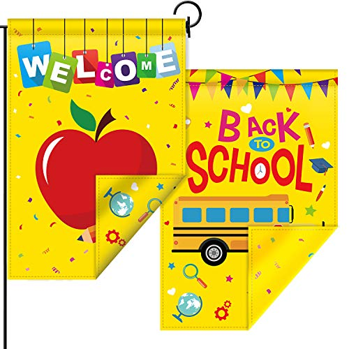 Welcome Back to School Garden Flag Double-Sided Prints Back to School Yard Backdrop Fabric House School Welcome Flag Sign for First Day School Classroom Supplies and Party Decoration, 12.6 x 18.5 Inch