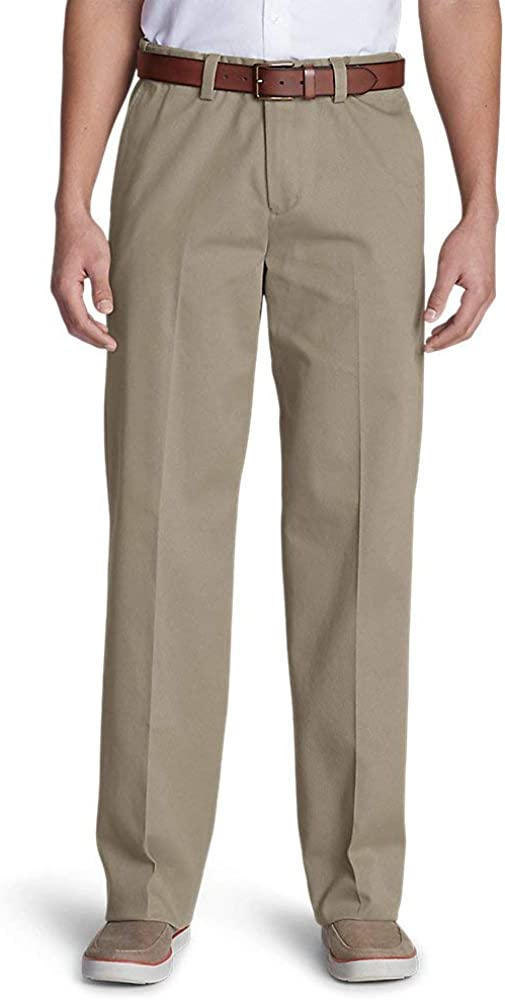 Eddie Bauer Men's Casual Performance Comfort-Waist Flat-Front Chinos - Relaxed
