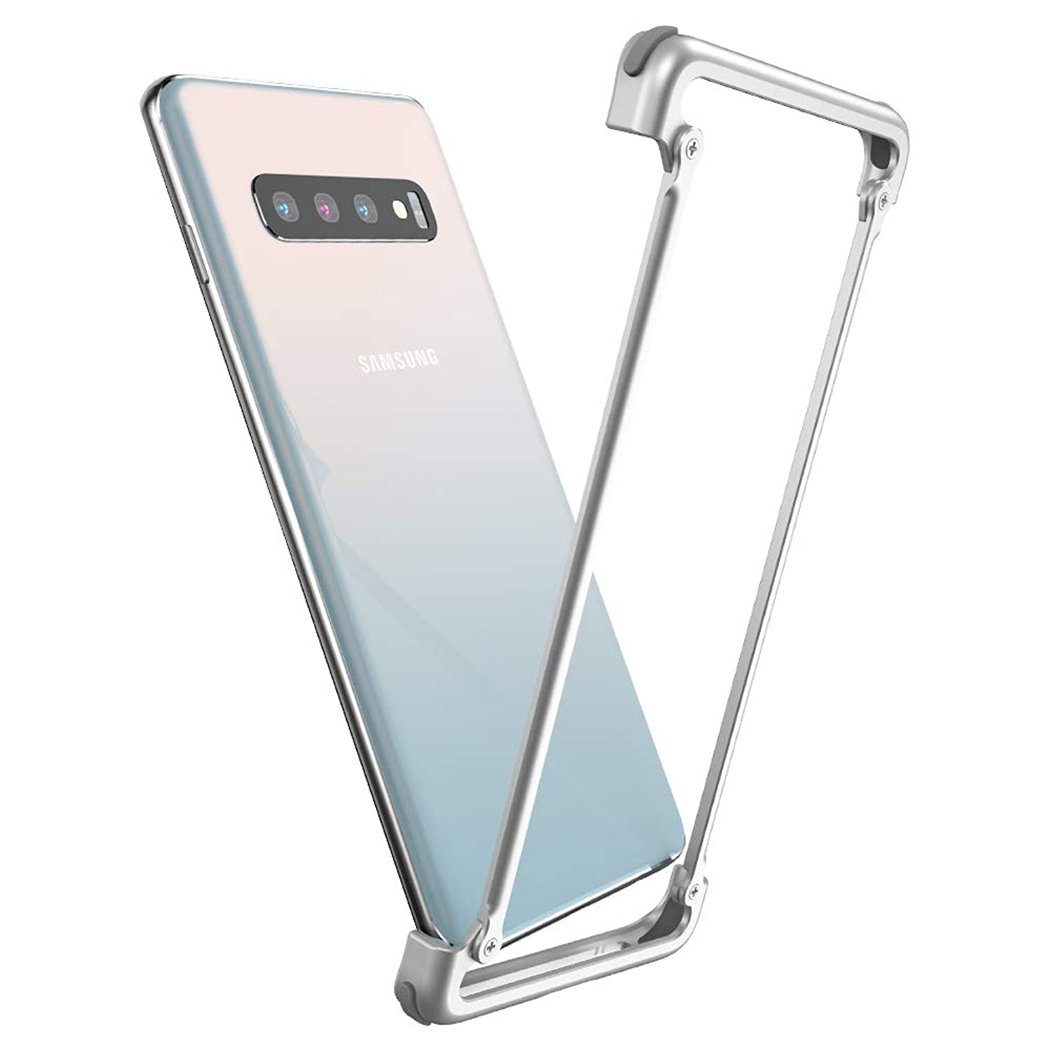 OATSBASF Phone Case Compatible for Samsung S10 Plus, Eege Bumper Series Compatible for Samsung S10 Plus, Shock Absorption Edge Case Support Wireless Charging with Screen Protector(Silver)