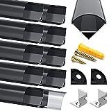 Jirvyuk Perfil LED Aluminio - 10 x 1 metro Aluminio Perfil V- Forma Negro Anodizado Canal Sistema para Tira LED con Tapa Negro, Puntas, Clips de Montaje de Metal