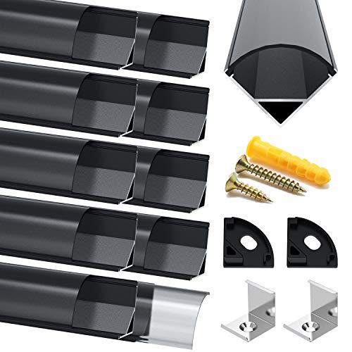 Profilo in Alluminio Nero, Jirvyuk 10 Pack 1m/3.3ft Profilo LED V-Shape per per Striscia a led, con Cover e Tappi di Chiusura laterali. Canalina di Alluminio con Cover, Montaggio Universale