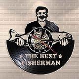 Nfjrrm Interesante Reloj de Pared con Disco de Vinilo de Pesca Antiguo para Pescador y Padre Amante de la Pesca El Mejor Reloj de Pared de Pesca Pescador 30x30cm