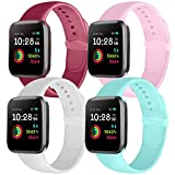 Ameni Correa Compatible con Apple Watch 44mm 42mm 40mm 38mm, Pulsera Silicona Suave de Repuesto para iWatch Series 5 4 3 2 1 (38mm/40mm M/L, Rosa/Blanco/Azul Claro/Vino)
