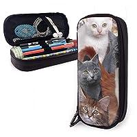 ペンシルケース大容量ペンバッグダブルジッパー化粧バッグ文房具バッグコンパートメント付き化粧品バッグ-猫子猫素敵
