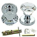 G Decor - Pomelli con serratura a incasso, in cristallo intagliato a diamante, finitura cromata, per porte, set da 2