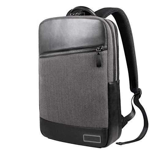 Notizbuchtaschen Laptop-Leather Rucksack Slim Business Rucksack für 15,6 Zoll Laptop mit Anti-Theft Pullers Computer Taschen für Men/Women/Business/College und Schule (Schwarz).