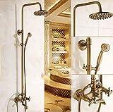 PYROJEWEL Baño ducha Traje de agua de ducha Mezclador termostático de latón 8 'ducha de lluvia for montaje en pared retro