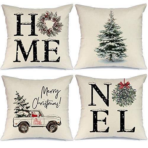 AENEY Christmas Decorations Pillow Covers 18x18 Set of 4, Home Noel Truck Christmas Tree Rustic Winter Holiday Throw Pillows Farmhouse Christmas Decor for Home, Xmas Cushion Cases for Couch A311-18