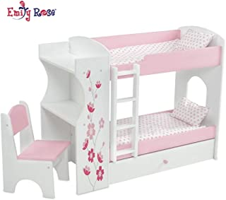Emily Rose 18 Inch Doll Bed Furniture for American Girl Dolls | Doll Bunk Bed & Desk Combo, Includes Doll Bedding | Fits 18