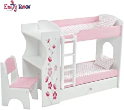 Emily Rose 18 Inch Doll Bed Furniture for American Girl Dolls   Doll Bunk Bed & Desk Combo, Includes Doll Bedding   Fits 18