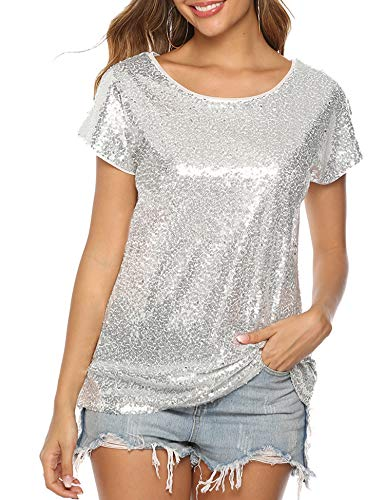 YAWOVE Women's Sparkle Sequin Top Short Sleeve Shimmer Glitter Party Tunic Tops … (Silver, X-Large)