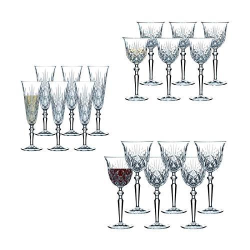 Nachtmann Palais - Juego de copas de vino tinto, blanco y champán (18 piezas)