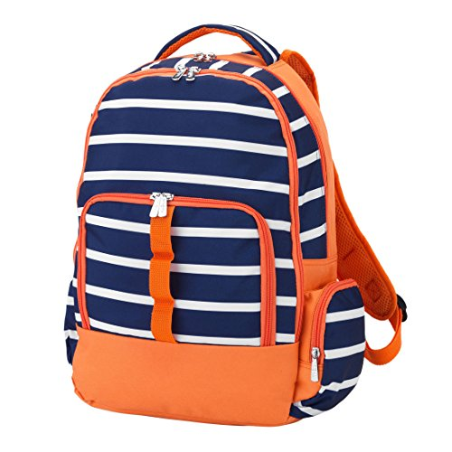 Reinforced Design Water Resistant Backpack (Personalized, Line Up Navy Orange)