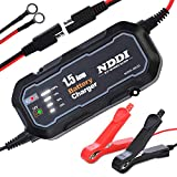 NDDI Automatic Battery Trickle Charger, Portable 12V 1500mA Smart Battery Charger with LED Charging State Lights (1.5A)