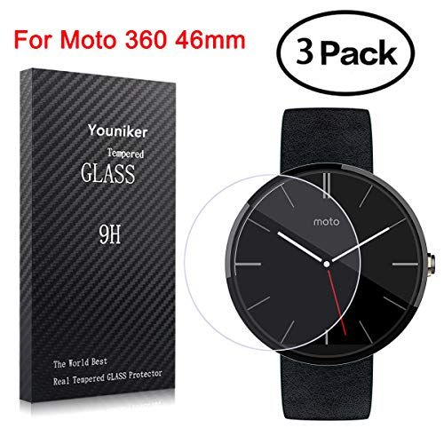 Youniker 3 Pack voor Motorola Moto 360 Screen Protectors Gehard Glas voor Moto 360 Gen 2 Smart Watch Screen Protector Foils Glas voor Moto 360 Anti-Scratch Bubble Free, Moto 360 46mm