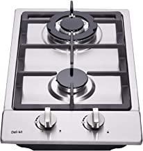 Deli-kit DK223-B01 12 inch gas cooktop gas hob stovetop 2 burners LPG/NG Dual Fuel 2 Sealed Burners brass burner Stainless Steel Built-In gas hob 110V AC pulse ignition gas cooktop gas stove