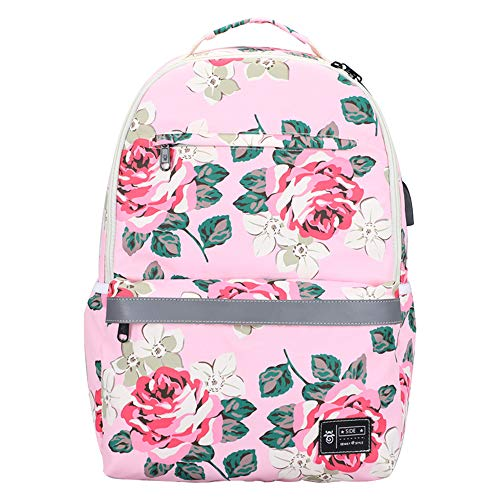 Ladies backpack, with USB charging, waterproof, reflective strip, fashion leisure travel student backpack backpack computer bag