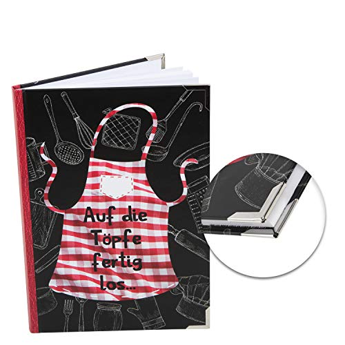 Logbuch-Verlag Libro de recetas de bricolaje A5 para diseñar uno mismo en los cacerolas, listo para usar, color negro y rojo, libro de cocina para tus propias recetas, regalo