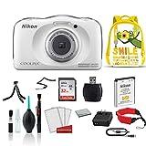 Nikon COOLPIX W100 Waterproof Rugged Digital Camera White Kid- Friendly - Bundle with Yellow Backpack + 32GB Sandisk Memory Card + More