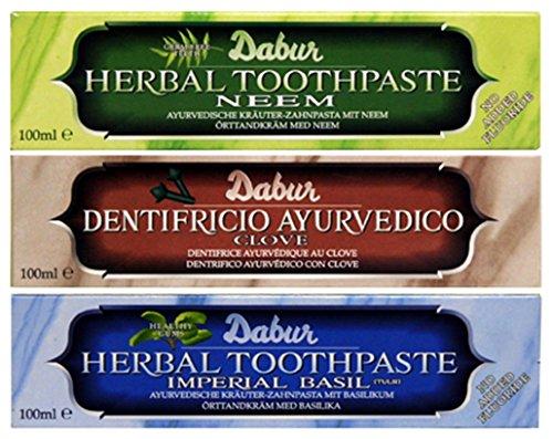 Dabur Herbal Toothpaste Neem 100ml, Basil 100ml & Clove 100ml Combo Pack 3 in 1