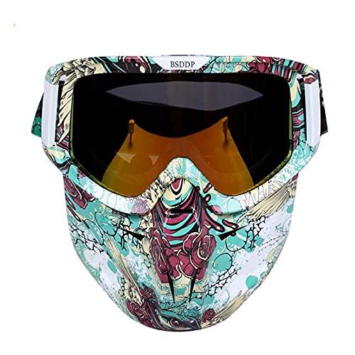 Casco de Motocicleta Gafas para Montar Gafas con Máscara Antivaho Gafas Cálidas Correa Ajustable Antideslizante (Multicolor),F