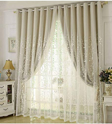 Double-Layer Curtain, Voile Window Cozy Blackout Thermal Insulation Room Drapes Embroidered with Grommet Drapery Great for Nursery Bedroom Balcony-150x270cm(59x106inch)-Rice Color 1 Panel