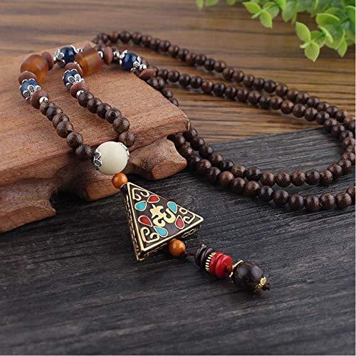 CXKEB Handgemachte Nepal Schmuck Buddhist Mala Holz Perlen Anhänger Halskette Ethnisches Horn Lange Aussage Halskette Für Frauen Männer