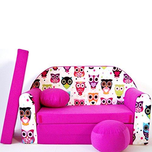 Kindersofa Kinder Sofa Couch Baby Schlafsofa Kinderzimmer Bett gemütlich verschidene Farben und motiven (H17 rosa Eulen)