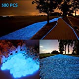 chic style 500Pcs Glow in The Dark Stones Garden Pebbles Rocks Indoor Outdoor Decor Luminous Stone...