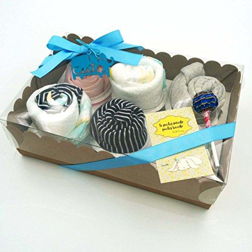 Regalo Muy Original para Recién Nacidos | 6 Cupcakes con: 1 BODY, 1 GORRITO, 2 pares de CALCETINES y 1 BABERO | Todo es de MARCA | Talla: 1-6 meses | Versión para Niños