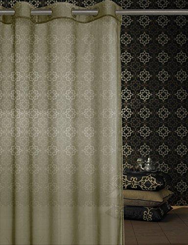 Adela Athènes Home Textile-bise de Salon avec oeillet métallique 100% Polyester 140 x 265 mm Lisse Blanc Beige liso
