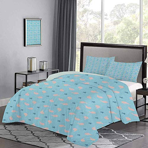 Duvet Cover Whale Silhouettes with Seastar Pattern in Pastel Colored Illustration Breathable Comforter Case Set Workmanship and Stitching are Very Meticulous Peach Blue Navy Blue, Twin Size
