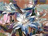 nwoxz Peinture De Bricolage par Numéros pour Enfants Adultes, Peinture par Kits De Numéros sur Toile avec Pinceau Débutant - Vase Orchidée Soleil Cadre 16X20 Pouces Décoration De La Maison