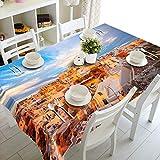 RFGED Paisaje Arquitectónico Iluminado por El Sol Poniente Mantel 3D Rectangular Cuadrado Cubierta De Mesa Plegable Impermeable Poliéster Jardín para Muebles De Cocina