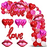 Valentines Day Balloon Garland Kit, 117PCS Red Hot Pink White Balloons with Heart Lips LOVE Foil Balloons for Valentines Day Proposal Engagement Wedding Party Decoration