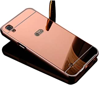 for LG X Style/LG Tribute HD Case,Shinetop Mirror Case -Luxury Metal Aluminum Bumper Frame Detachable Bling Mirror PC Hard Back Case Cover Slim Shock-Absorption Protective Skin Shell-Rose Gold
