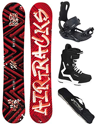 Airtracks Snowboard Set - Wide Board Dirty Brush Wide 150 - Softbindung Master - Softboots Strong 43 - SB Bag