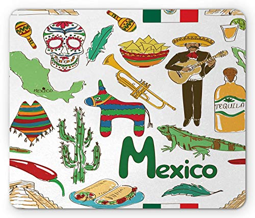 Mexikanisches Mauspad, lustige bunte Skizze Mexiko-Chili-Pyramide Nachos-Kaktus-Musik-Poncho-Muster, rechteckiges rutschfestes Gummi-Mauspad, Olivensenf