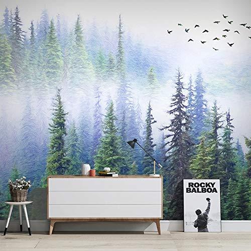 Papel tapiz 3D personalizado Flying Bird Forest Mural estilo chino moderno sala de estudio sala de estar sofá TV Fondo Fresco revestimiento de paredes-208X146CM