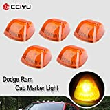 Cab Marker Light 5x Amber Top Clearance Roof Running Lens/Covers with T10-5-5050-SMD White LED Bulbs Replacement Cab Marker Assembly Replacement fit for 1994-1998 for Dodge for Ram 2500 3500