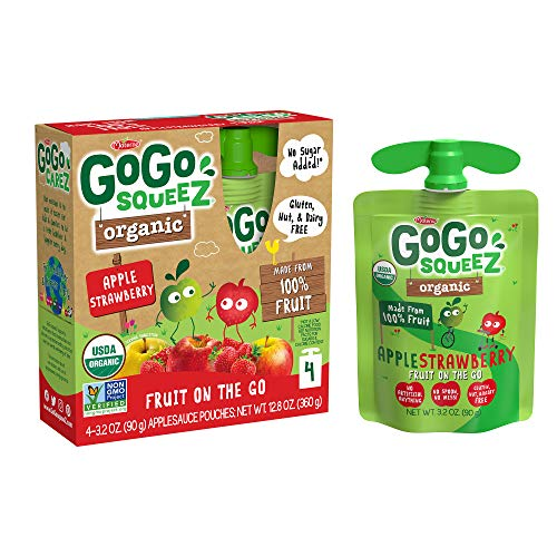 GoGo squeeZ Organic Applesauce, Apple Strawberry, 3.2 Ounce (4 Pouches), Gluten Free, Vegan Friendly, Unsweetened Applesauce, Recloseable, BPA Free Pouches
